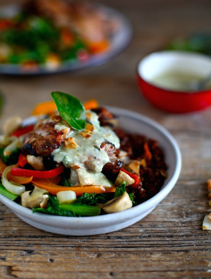 Sautéed Vegetables & Grilled Chicken Thighs with Coconut Almond Kaffir Lime Cream via Nutritionist in the Kitch