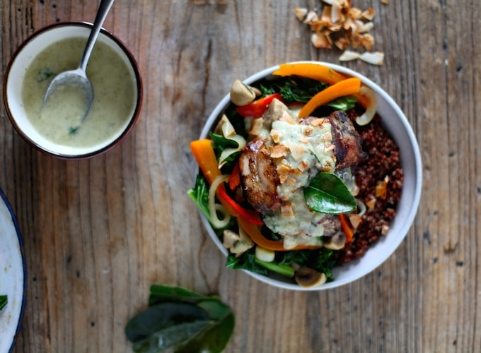 Sautéed Vegetables & Grilled Chicken Thighs with Coconut Almond Kaffir Lime Cream