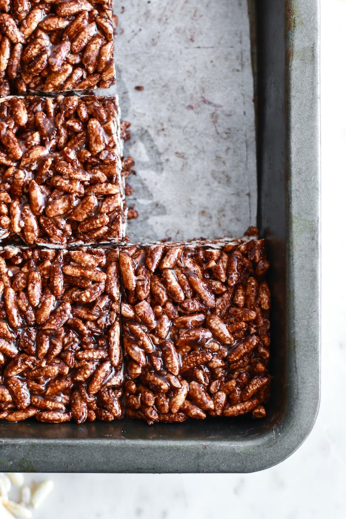The Most Delicious and Healthy Rice Crispy Squares Recipe with Brown Rice + Cocoa