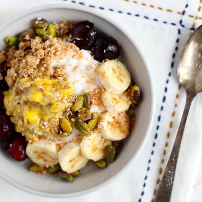 Mango Chia Jam & Sweet Cherry Breakfast Bowl via Nutritionist in the Kitch
