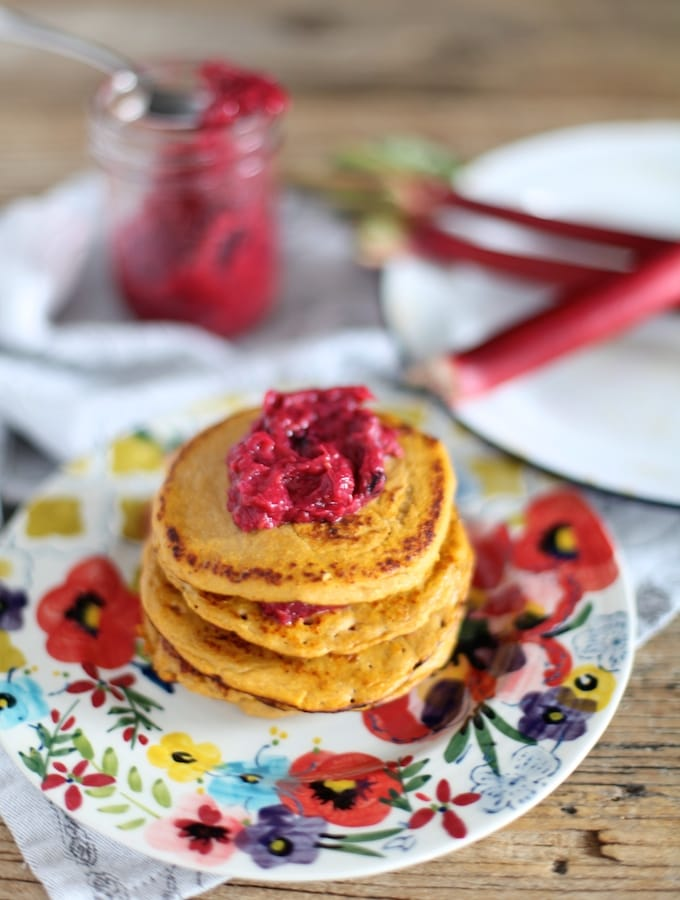3 Ingredient Sweet Potato Pancakes With Roasted Berry Rhubarb Compote via Nutritionist in the Kitch