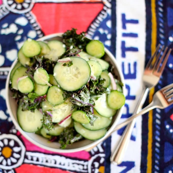 Lightened Up Creamy Cucumber and Kale Salad via Nutritionist in the Kitch