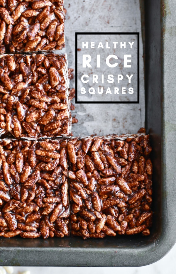 Healthy Rice Crispy Squares Recipe with Brown Rice and Cocoa Powder