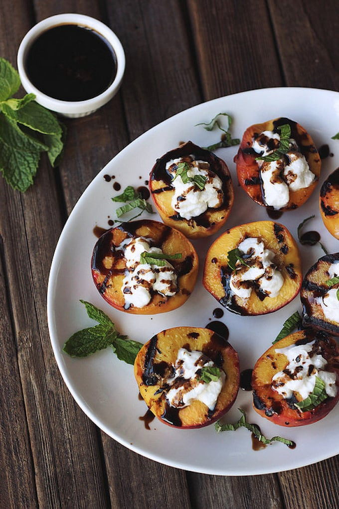 Grilled Peaches with Whipped Coconut Cream via Tasty Yummies