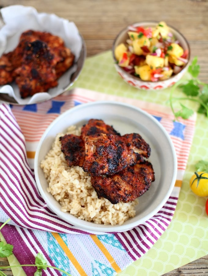 Spice Rubbed BBQ Chicken & Pineapple Salsa Rice Plate