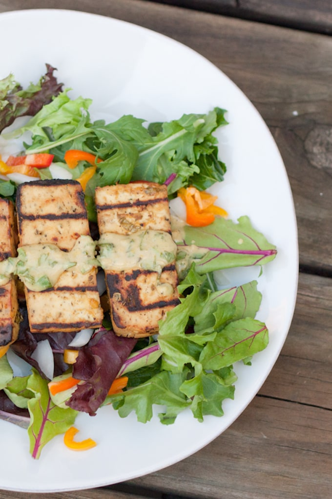 Grilled Lemon Basil Tofu via Eating Bird Food