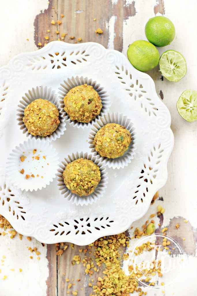 Key Lime Pistachio Truffles from The Clean Dish