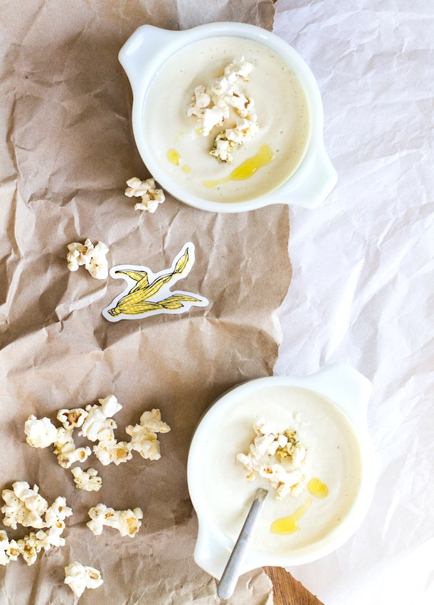 Cauliflower Soup with Herbed Popcorn from Heartbeet Kitchen