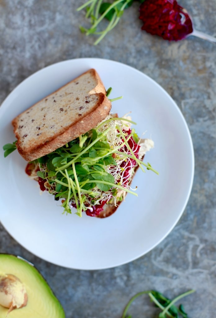 Turkey Sprout & Avocado Sandwich with Beet Horseradish via Nutritionist in the Kitch