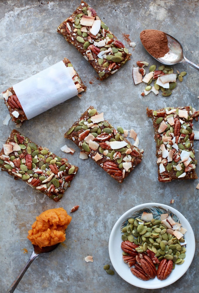 (Healthy + Vegan) Pumpkin Protein Bars via Nutritionist in the Kitch