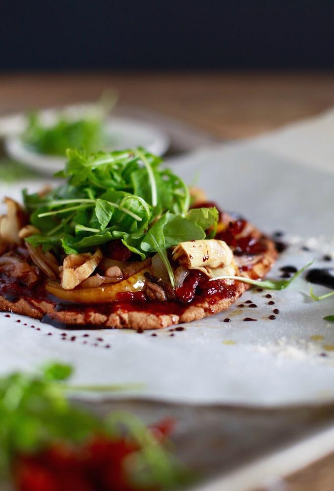 30 Minute Meal // Roasted Vegetable Balsamic & Arugula Pizza (Grain & Dairy Free)