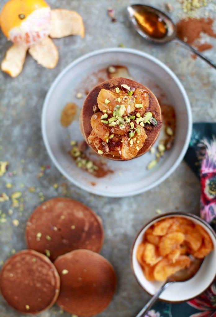 Cinnamon Spiced Paleo Pancakes with Mandarin Orange Compote & Pistachios