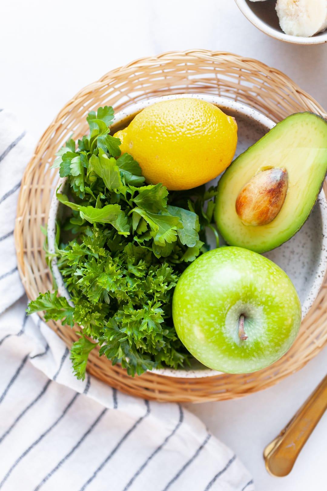 Best Ever Parsley Smoothie Recipe Ingredients - apple, pear, lemon, parsley, banana, honey