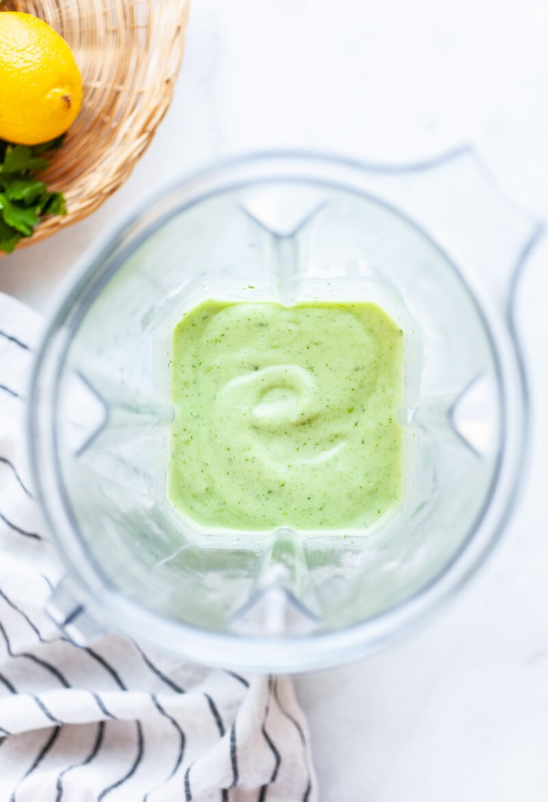 Overhead shot of Best Ever Parsley Smoothie Recipe in a blender