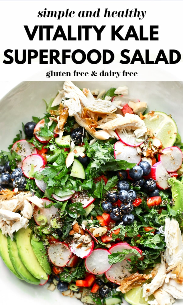 Learn how to make a delicious superfood salad and make this tasty Vitality Kale Superfood Salad that is gluten free, dairy free, and filled with nutritious super foods. Have it plant-based (or vegan) or with added shredded chicken breast and make a big batch to enjoy for a few days in a row for lunch or dinner!