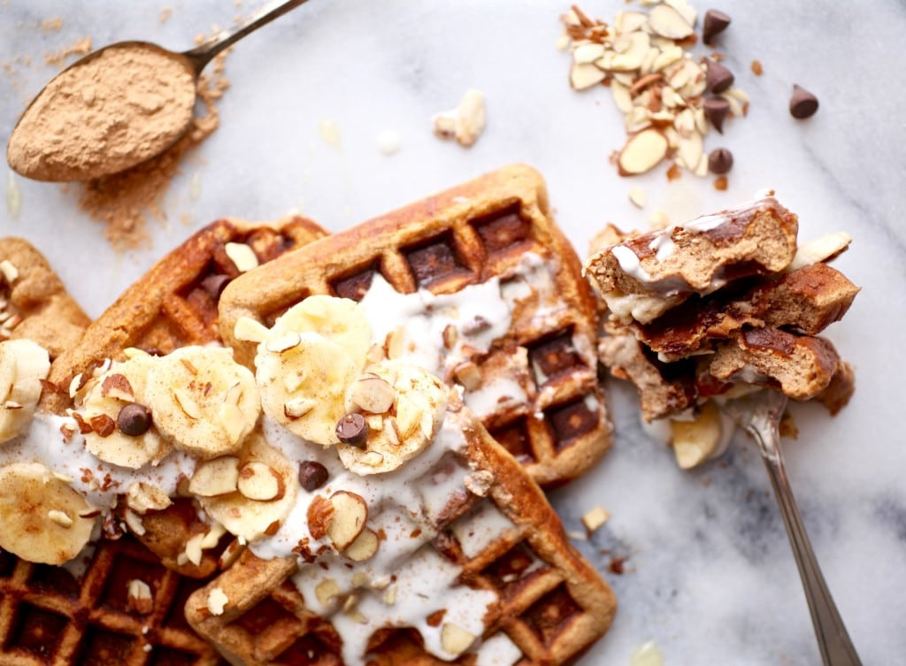 Maca Almond Banana Chocolate Chip Waffles // Grain & Dairy Free