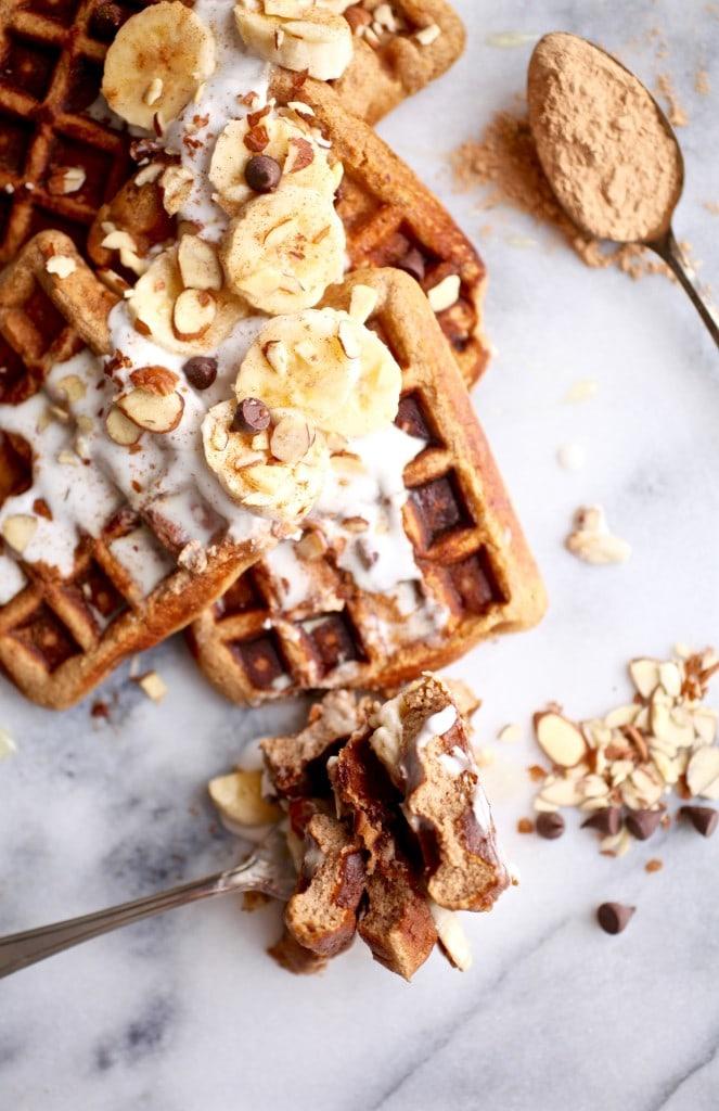 Maca Almond Banana Chocolate Chip Waffles // Grain & Dairy Free via Nutritionist in the Kitch