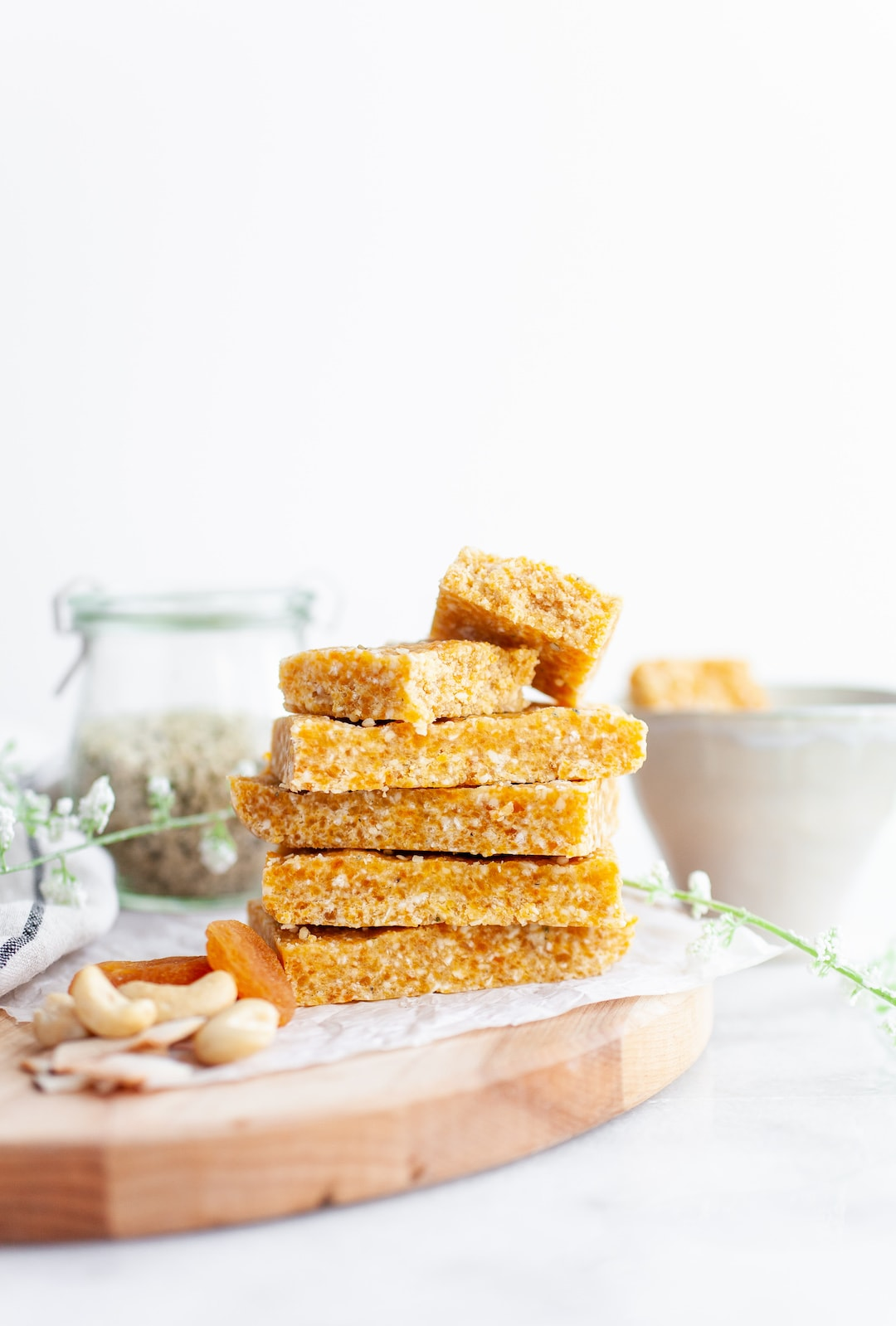 Stack of 5 Apricot Cashew Energy Bars