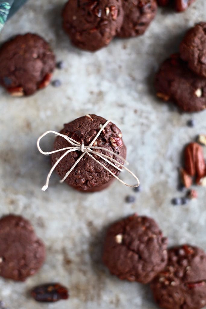 Valentine's Day Double Chocolate Chip Pecan Cookies via Nutritionist in the Kitch // Gluten & Diary Free!