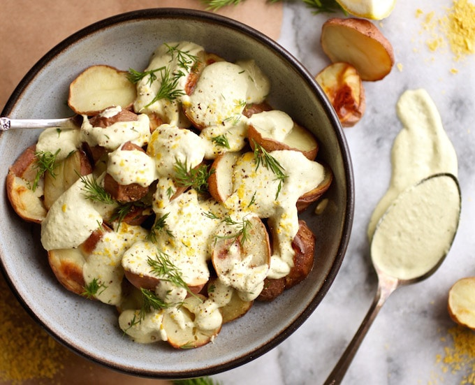 Roasted Potatoes with Creamy Lemon Dill Sauce // Dairy & Gluten Free