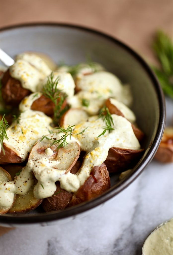 Roasted Potatoes with Creamy Lemon Dill Sauce // Dairy & Gluten Free via Nutritionist in the Kitch