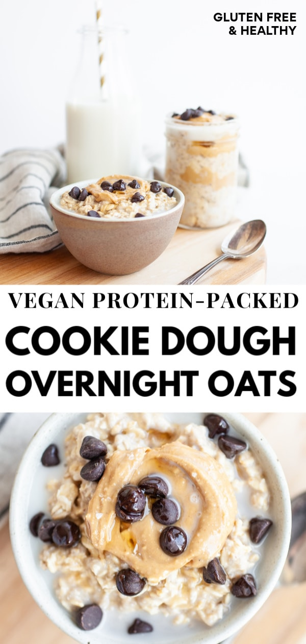 Try this recipe for unreal vegan protein packed cookie dough overnight oats (made in a jar easy!) that's perfect for healthy clean eating, quick or rushed mornings, and loaded with cashew butter, chocolate chip, and a delicious naturally sweet (no sugar added!) cookie-dough flavour!