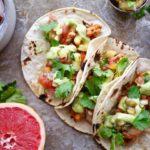 Cajun Shrimp Tacos with Grapefruit Pineapple Salsa & Avocado Crema (GF & DF)