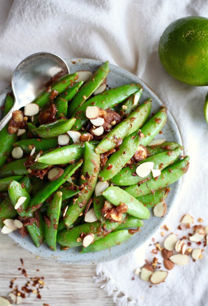 Sweet & Salty Almond Butter Snap Peas via Nutritionist in the Kitch