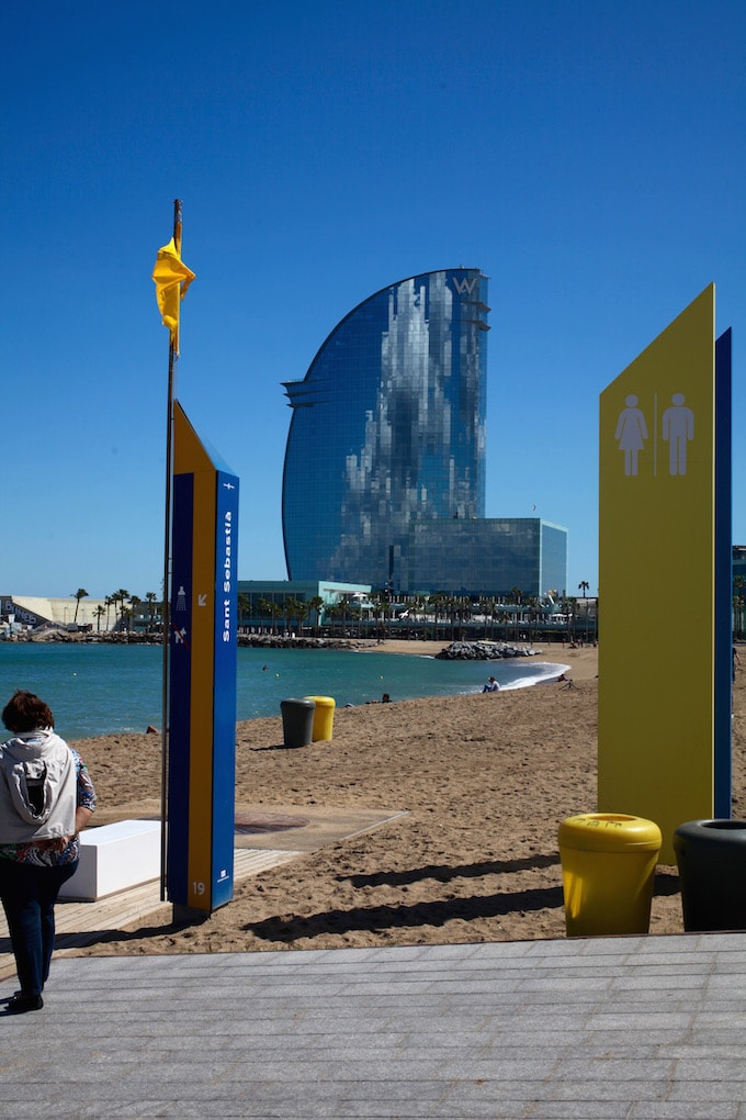 NITK's Healthy Barcelona City Guide - View of the W Hotel from Barcelona Beach