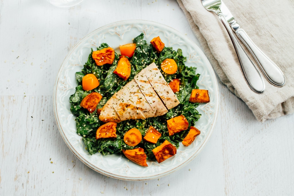 Loaded Kale Salad with Sweet Potatoes & Chicken by Eating Bird Food