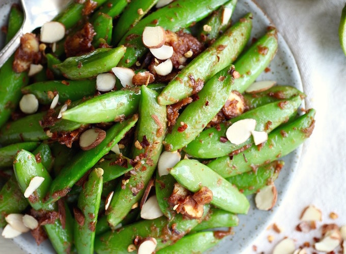 Sweet & Salty Almond Butter Snap Peas