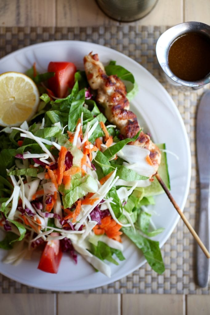 Delicious Salad & Souvlaki at BBQ Art