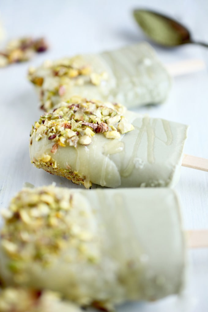 Matcha White Chocolate Pistachio Creamsicles // Vegan & Gluten Free via Nutritionist in the Kitch