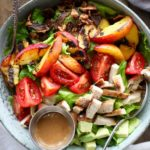 Grilled Nectarine & Chicken BLT Salad with Tahini Dressing via Nutritionist in the Kitch