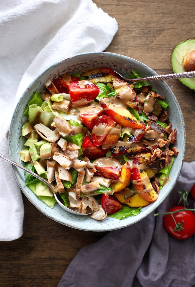 Grilled Nectarine & Chicken BLT Salad with Creamy Balsamic Dressing via Nutritionist in the Kitch