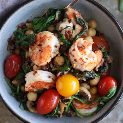 Spinach Chickpea & Heirloom Tomato Prawn Sauté via Nutritionist in the Kitch