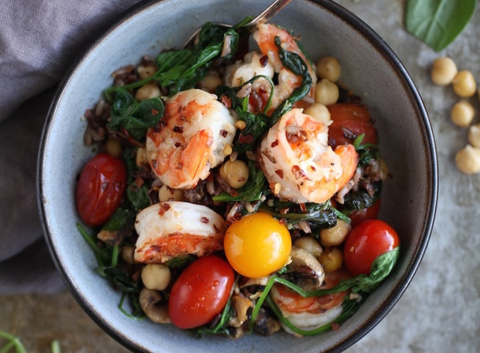 Spinach Chickpea & Heirloom Tomato Prawn Sauté