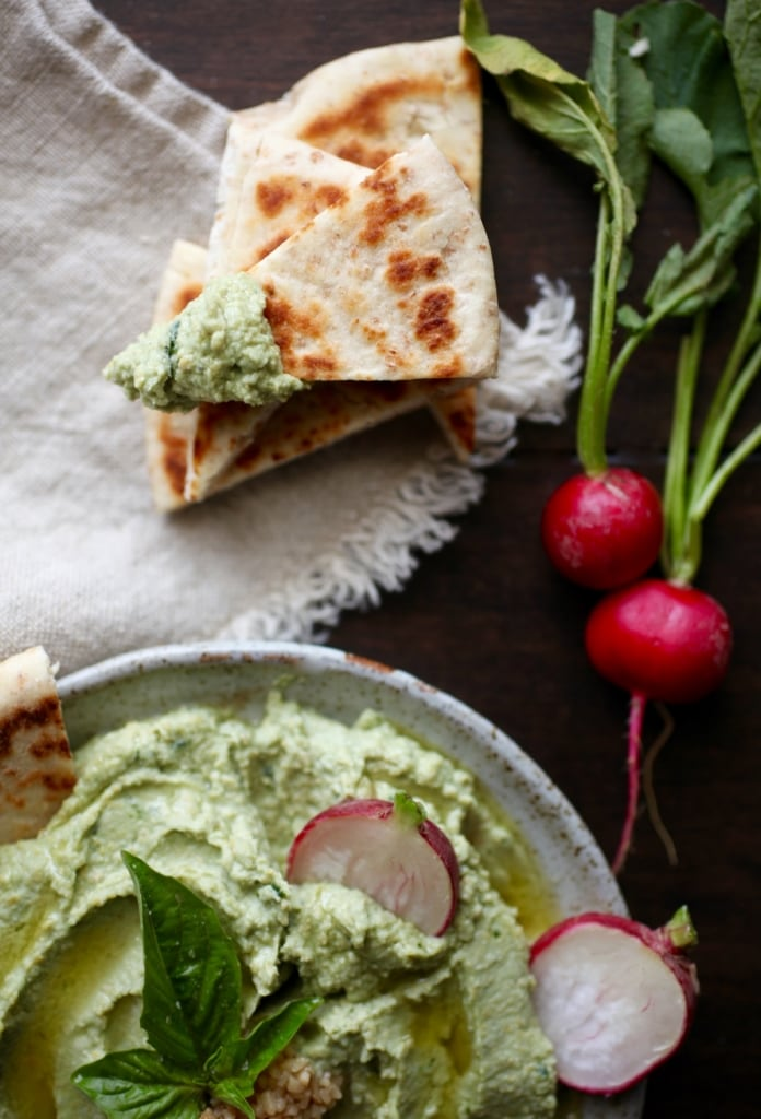 Supercharged Basil & Garlic Hummus via Nutritionist in the Kitch