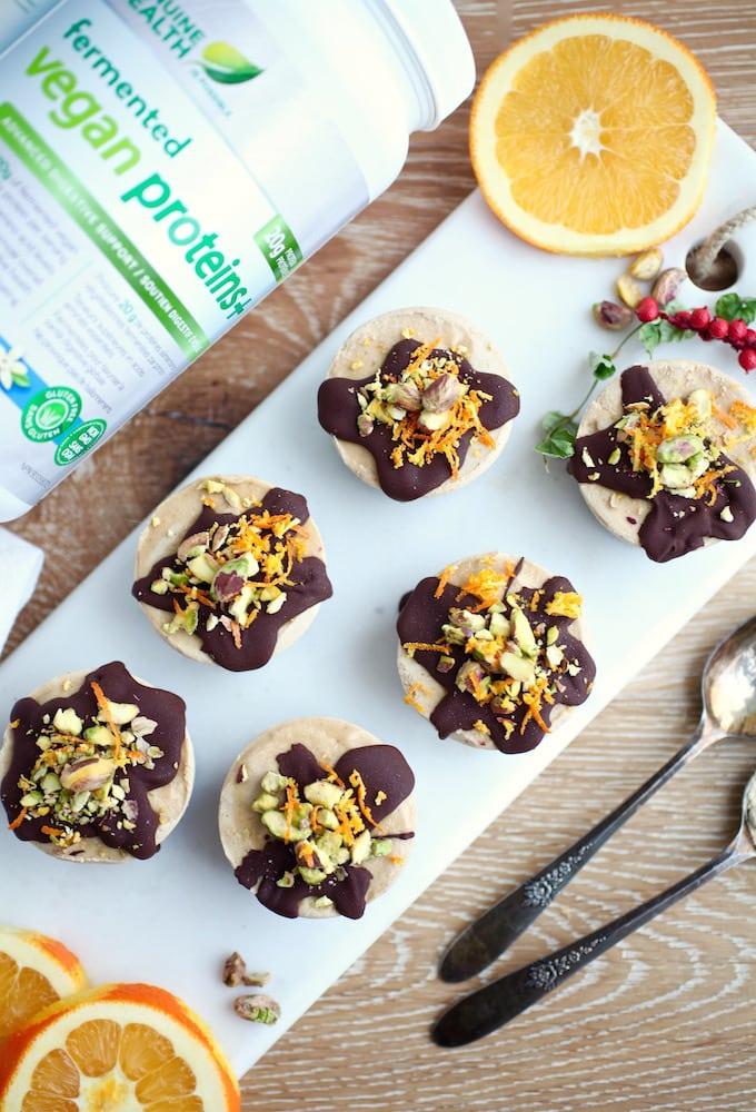 Vegan Chocolate Orange Mini Protein Cheesecakes via Nutritionist in the Kitch