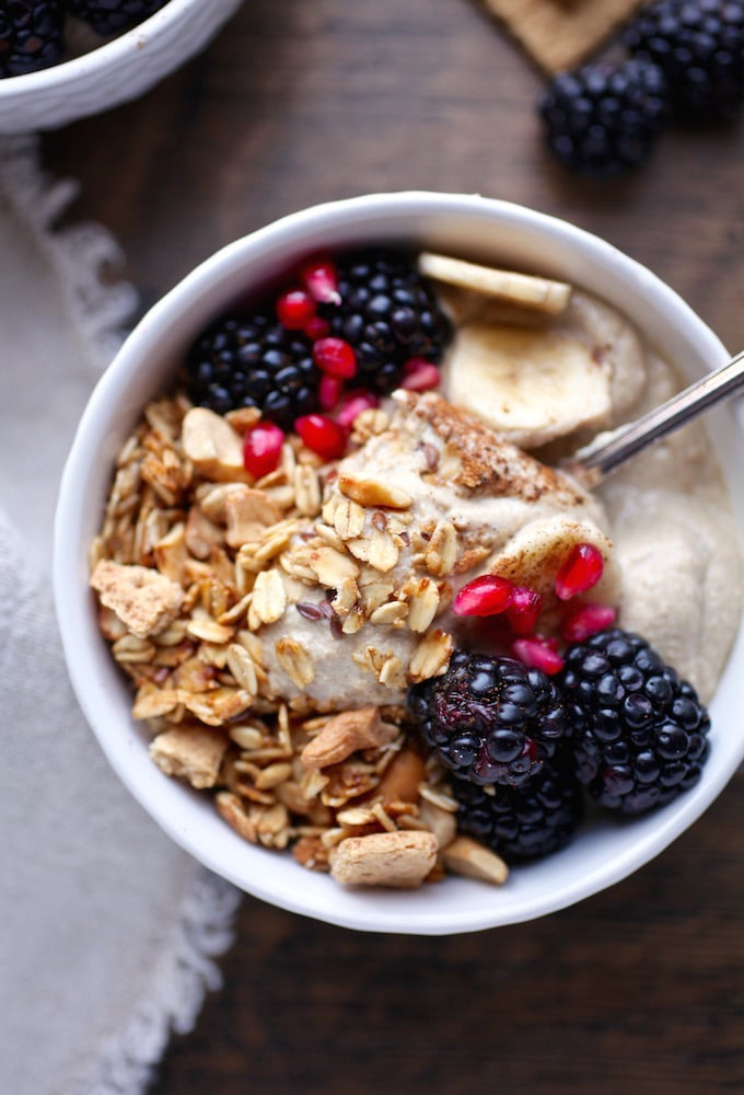 Gingerbread Pudding Granola Breakfast Bowl (Vegan) via Nutritionist in the Kitch