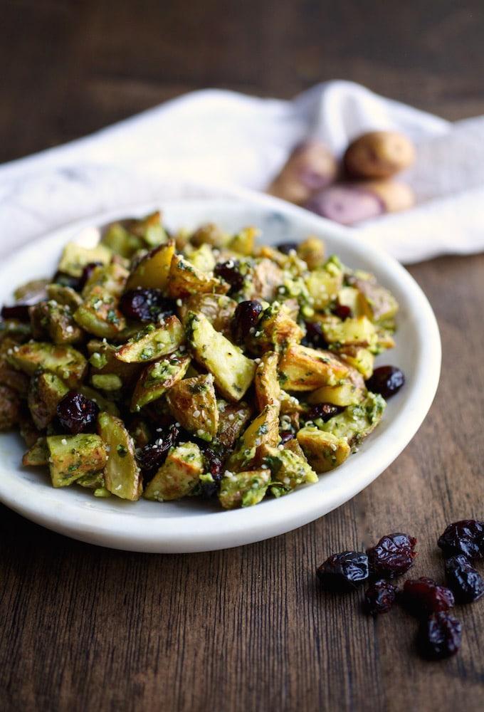 Warm Pesto & Cranberry Potato Salad // DF & GF via Nutritionist in the Kitch