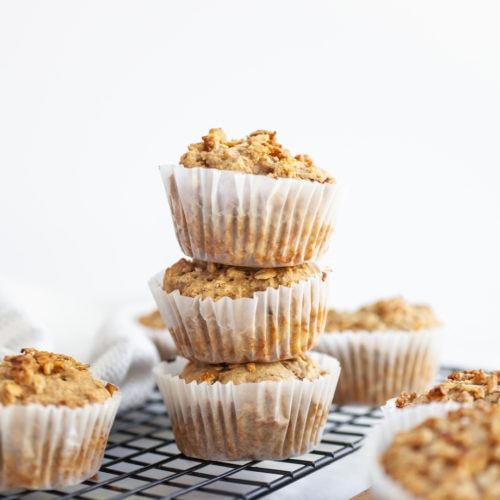 three stacked banana muffins