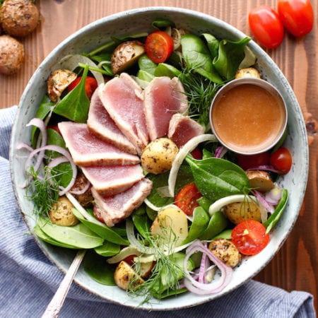 Ahi Tuna Winter Salad with Creamy Balsamic Dressing (DF, GF) via Nutritionist in the Kitch