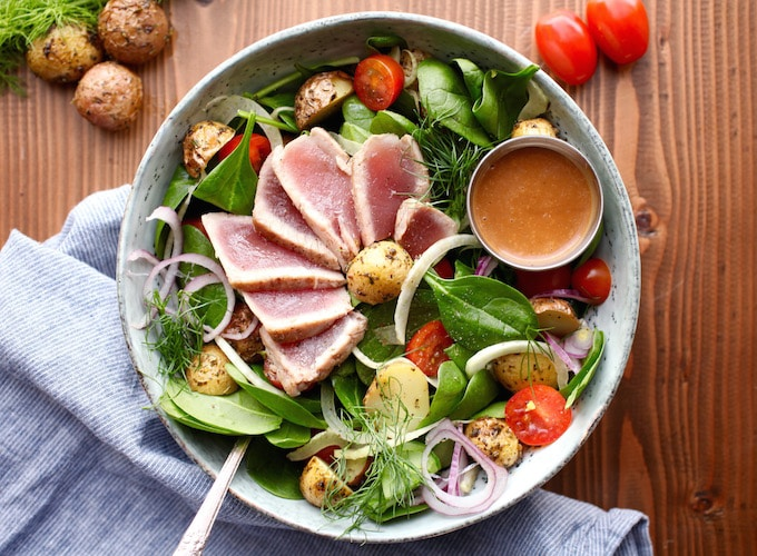 Ahi Tuna Winter Salad with Creamy Balsamic Dressing (DF, GF)
