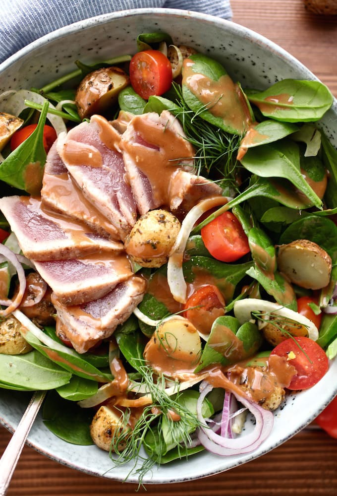 Ahi Tuna Winter Salad with Creamy Balsamic Dressing (DF, GF) via Nutritionist in the Kitch
