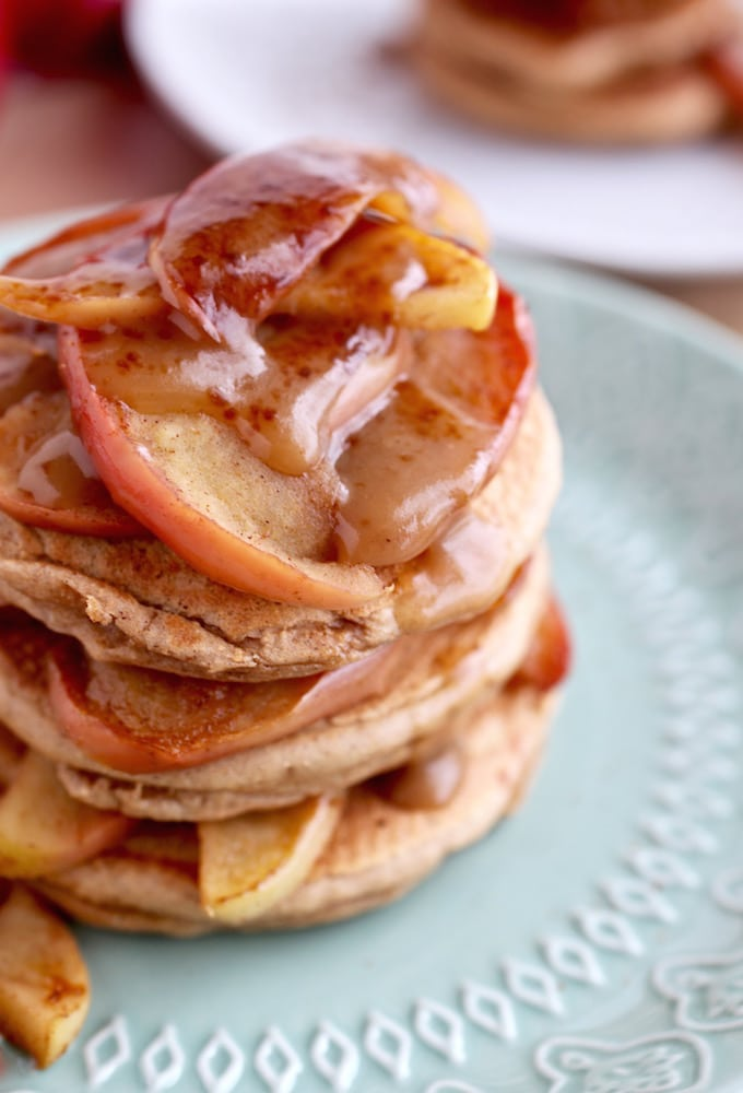 Healthy Apple Caramel Pancakes (GF & DF) via Nutritionist in the Kitch