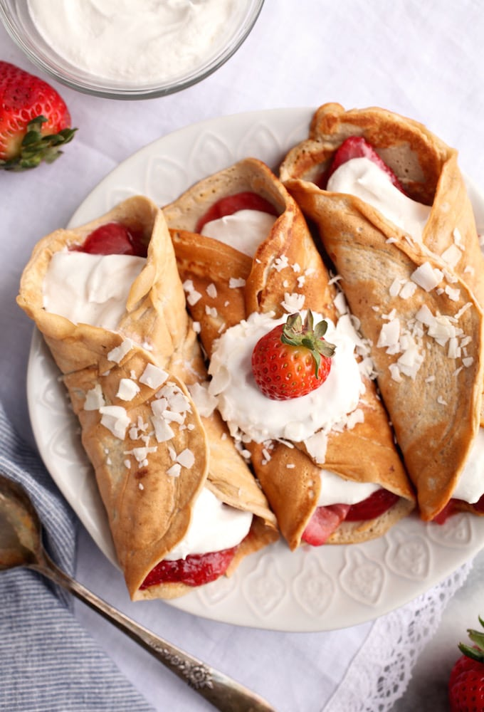 Strawberry Shortcake Protein Crepes via Nutrition in the Kitch