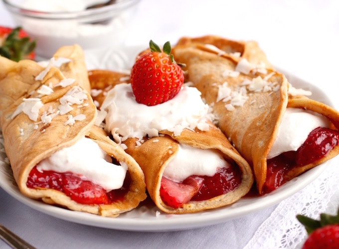Strawberry Shortcake Protein Crepes