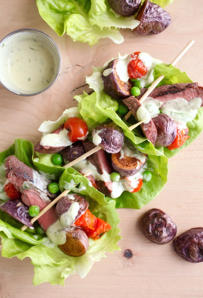 Steak & 'Blues' Salad Boats with Dilly Avocado Ranch Dressing via Nutritionist in the Kitch
