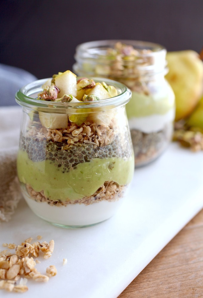 Pear Chia Pistachio Breakfast Parfait Jars via Nutritionist in the Kitch